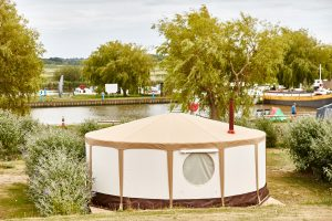 Glamping yurt overlooking the river